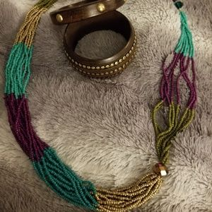 Jewelry - Bohemian beaded necklace with wood Bangles